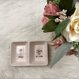 Rae Dunn Indulge Ice Cream Ceramic Double Tray NEW